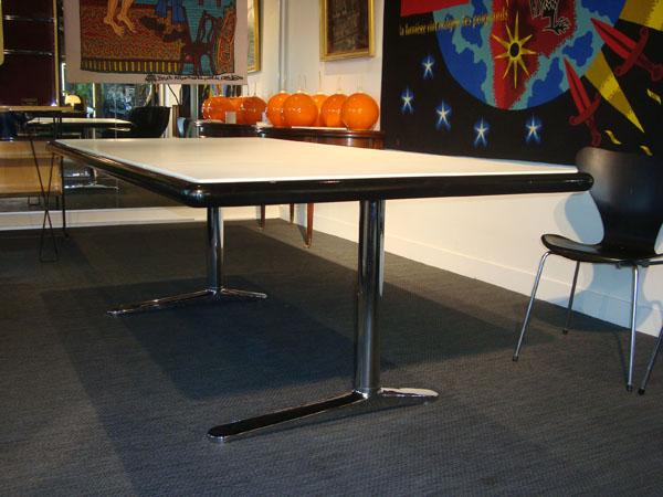 table warren platner occasion plateau en ch ne massif laqu noir rev tu de cuir longueur 229. Black Bedroom Furniture Sets. Home Design Ideas