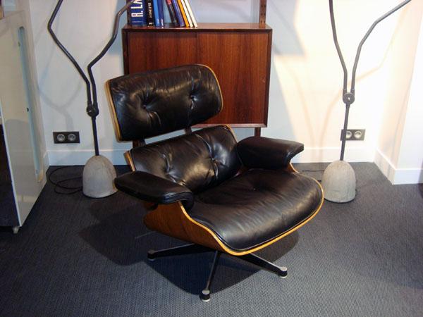 lounge chair charles eames occasion trois coques en contreplaqu moul plaqu de palissandre. Black Bedroom Furniture Sets. Home Design Ideas
