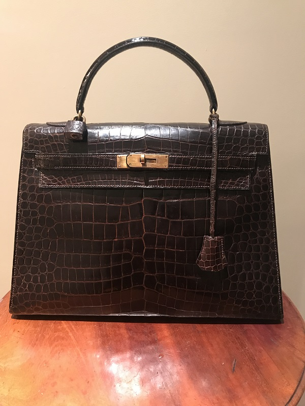 Hermes Kelly 32 cm crocodile occasion, en vente Ile Saint Louis - Paris