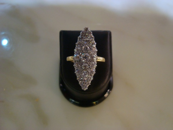 Bague Marquise diamants occasion, en vente Ile Saint Louis - Paris